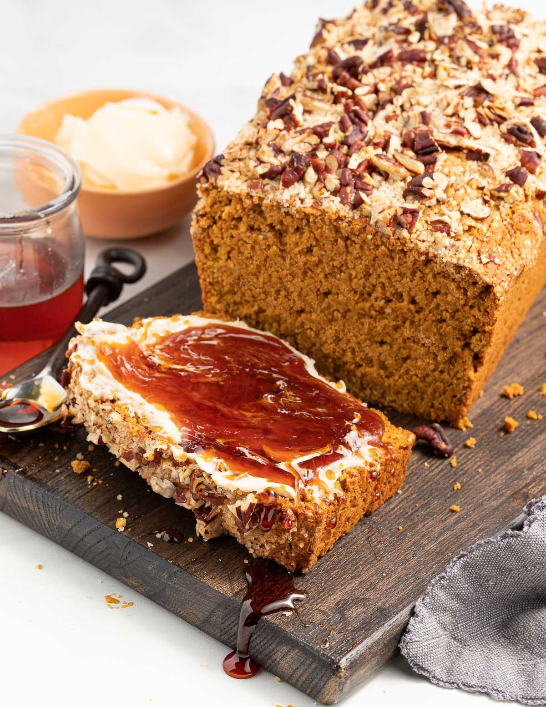 gluten-free sweet potato bread with vegan honey