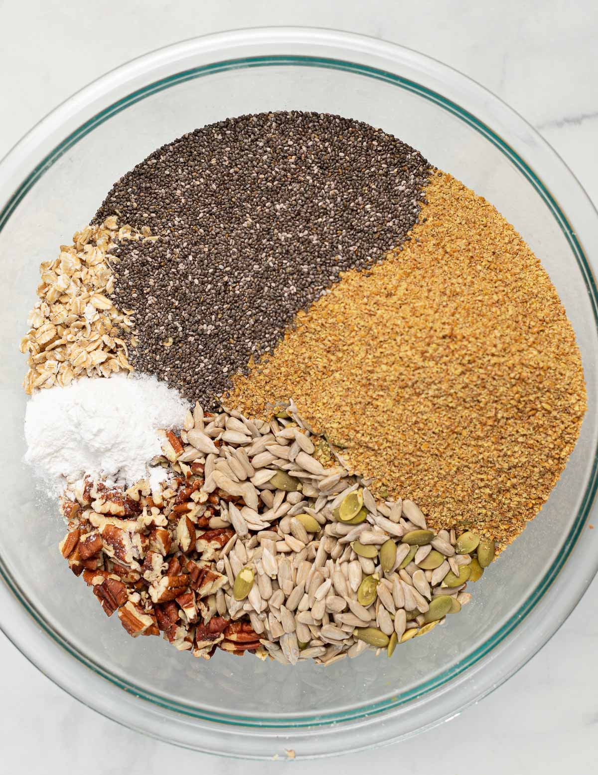 dry ingredients for gluten-free seed bread in a bowl