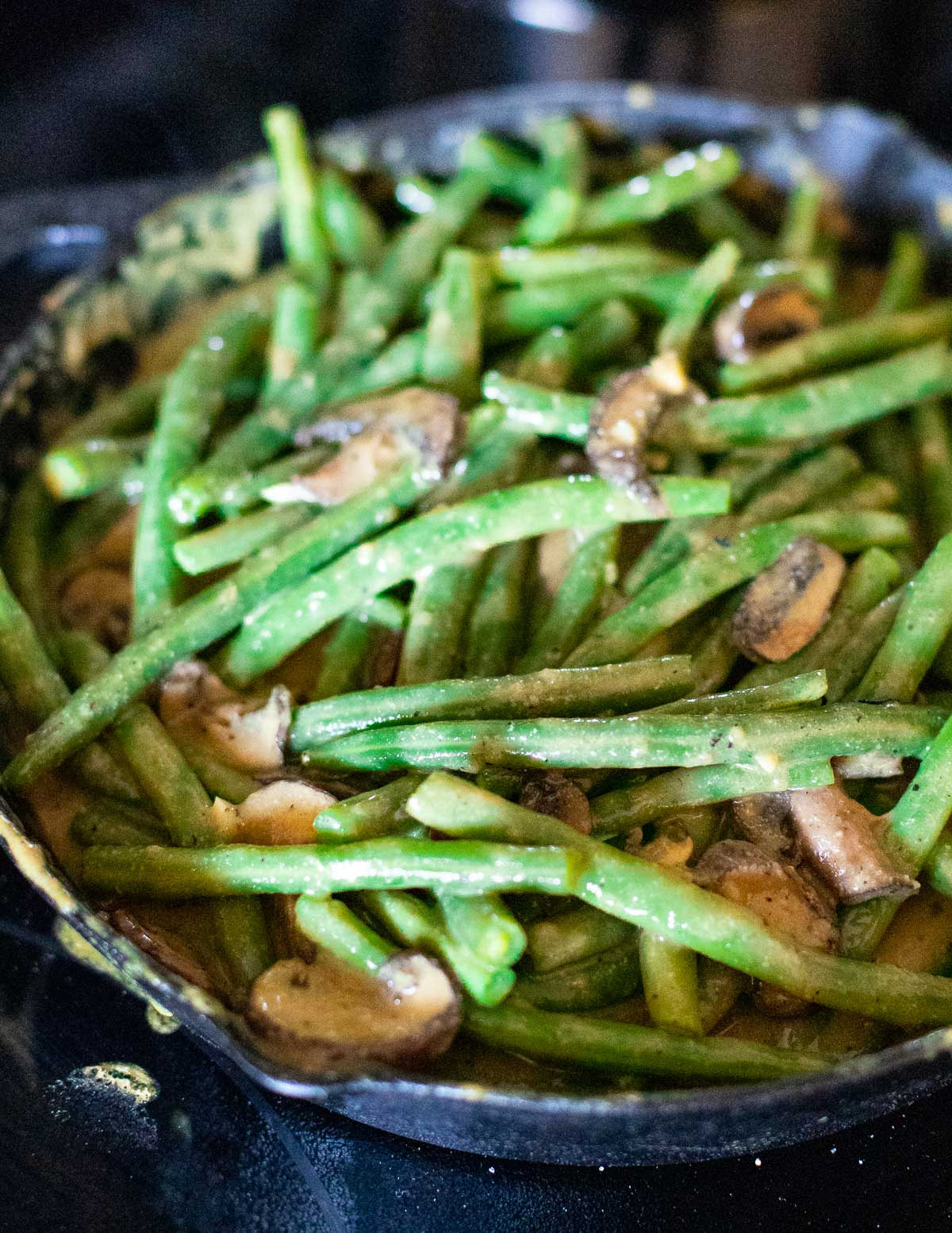 green beans mixed with mushroom sauce