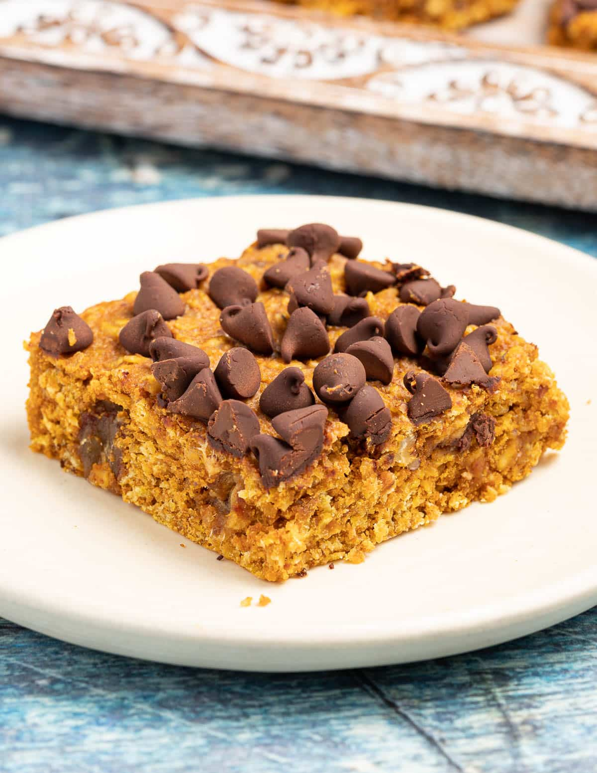 a pumpkin oatmeal bar topped with chocolate chips