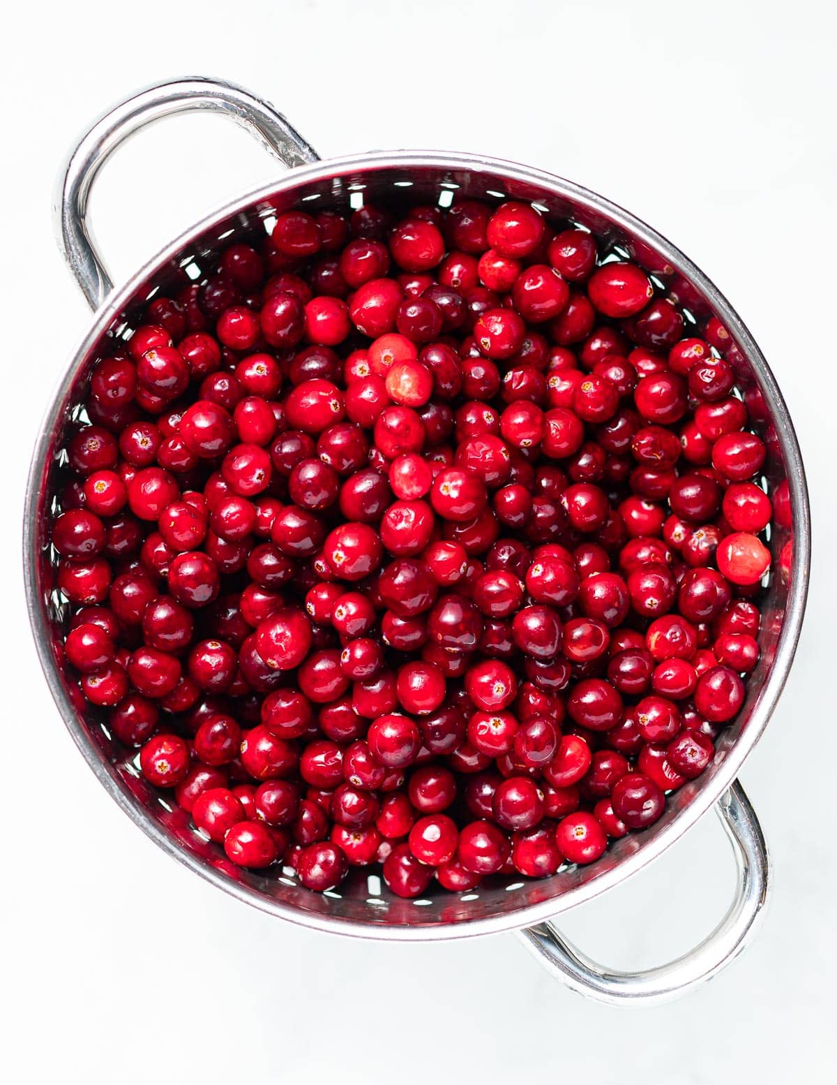 cranberries in a colander