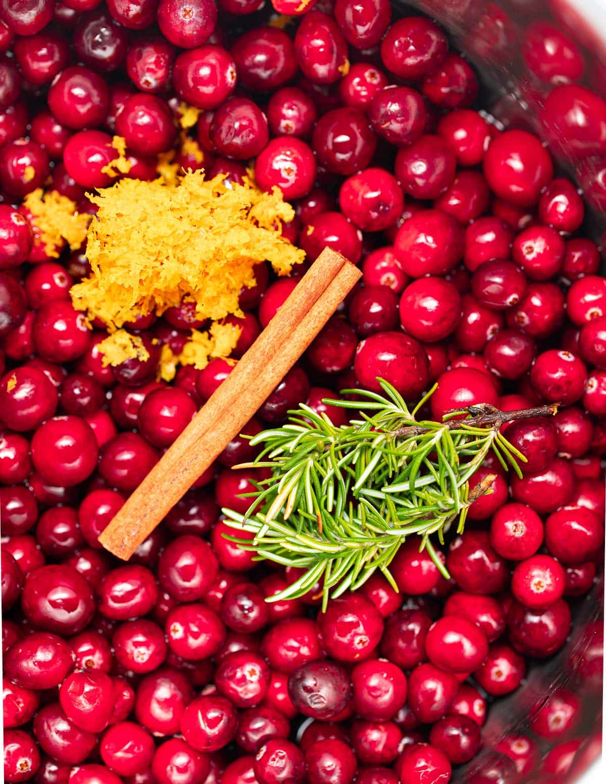 cranberries, cinnamon, rosemary and zest