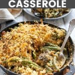 a skillet of vegan green bean casserole