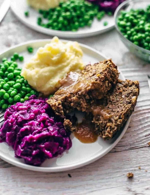 vegan meatloaf on a plate