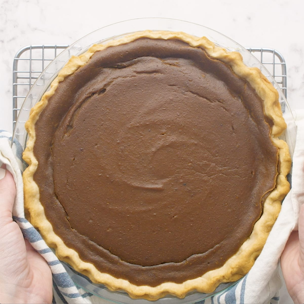 a baked pumpkin pie