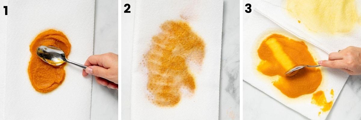 pumpkin puree blotting on paper towels