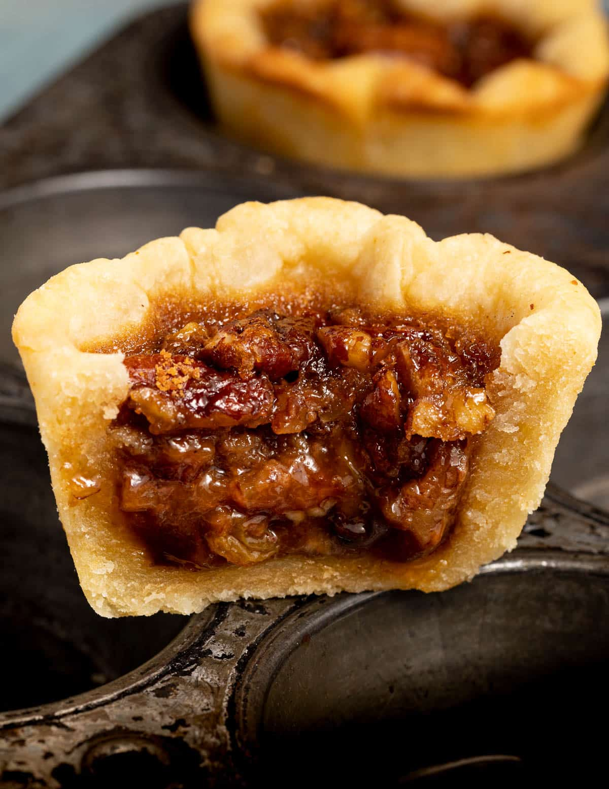 the gooey inside of a vegan butter tart