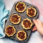 a muffin pan full of vegan butter tarts