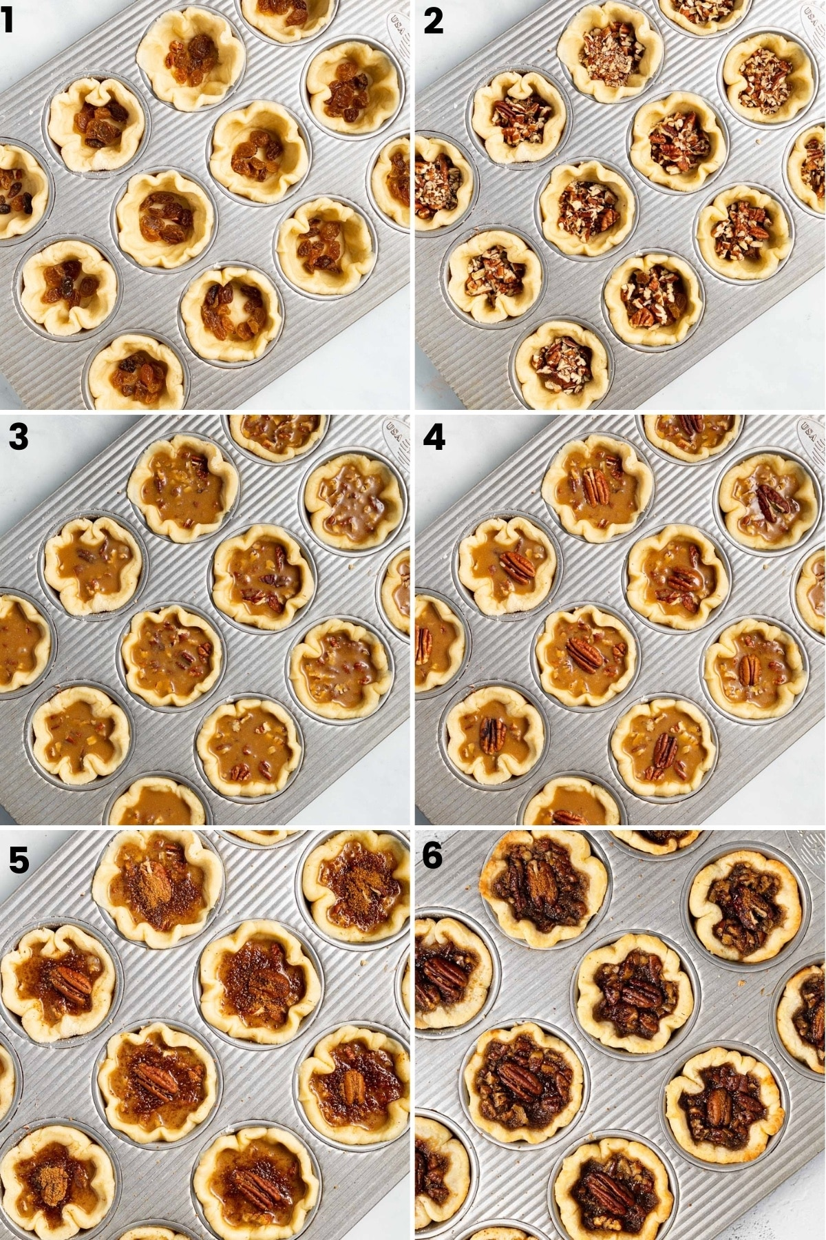 process shots showing how to fill tarts