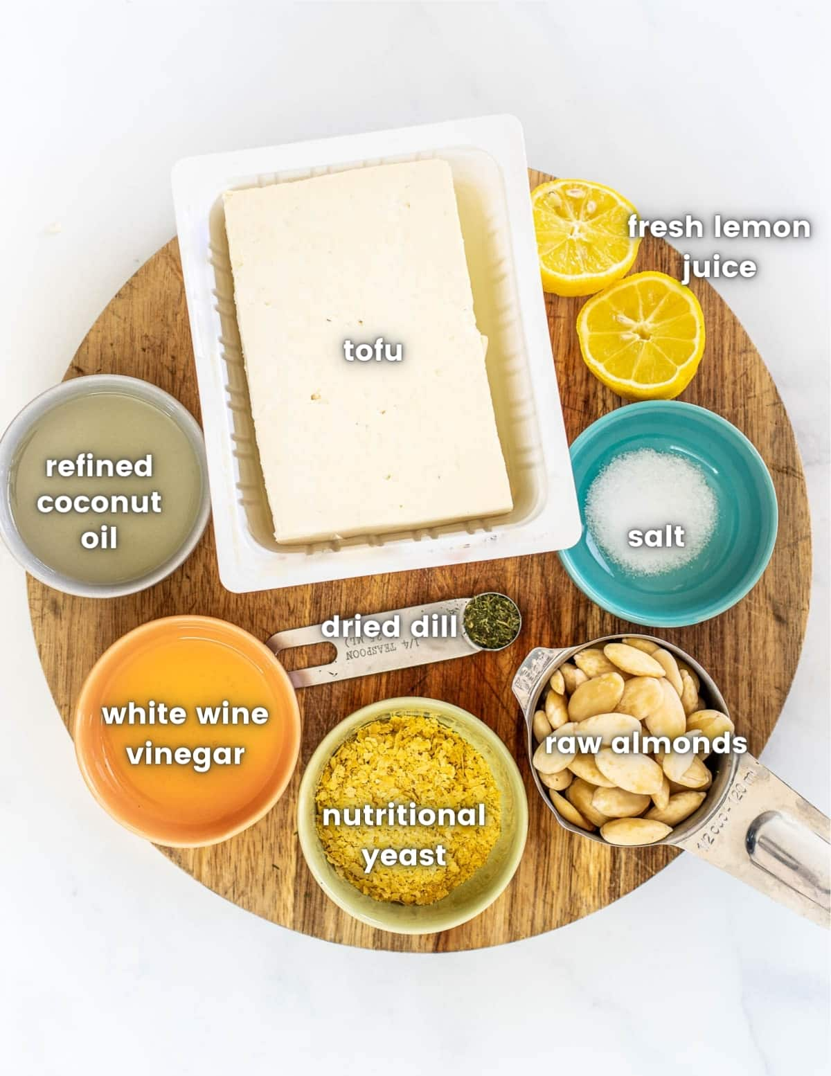 the ingredients for vegan cream cheese