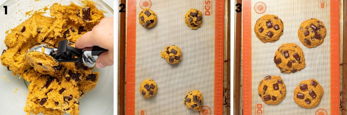 cookies on a baking tray before cooking and after