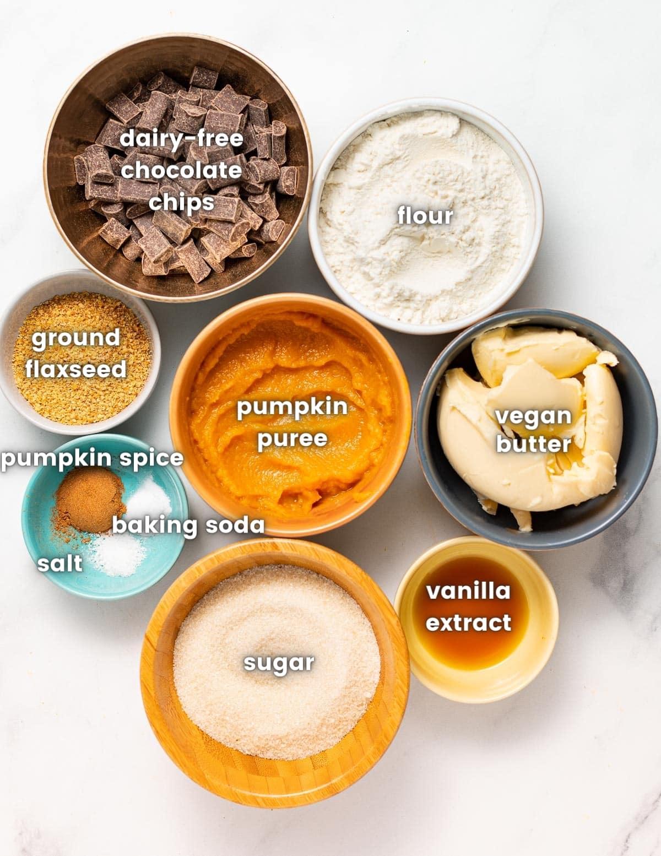 ingredients for vegan pumpkin chocolate chip cookies