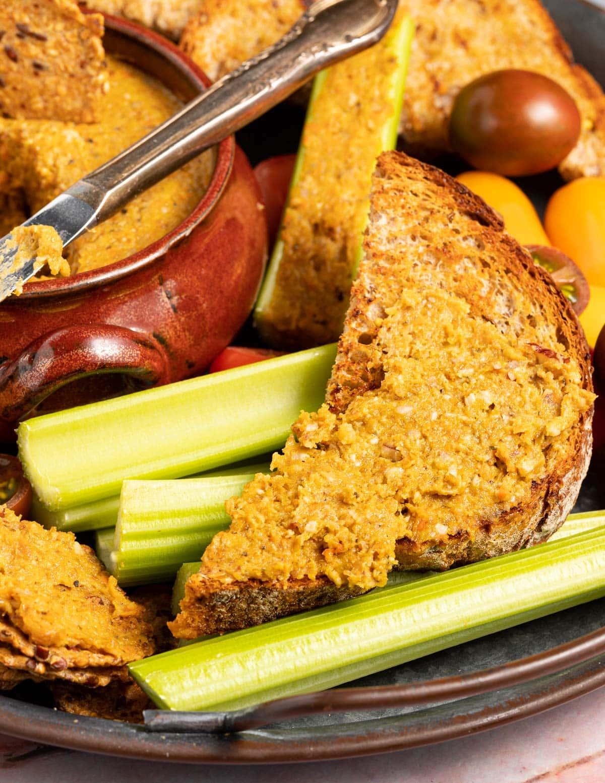 vegetable pate spread on toast