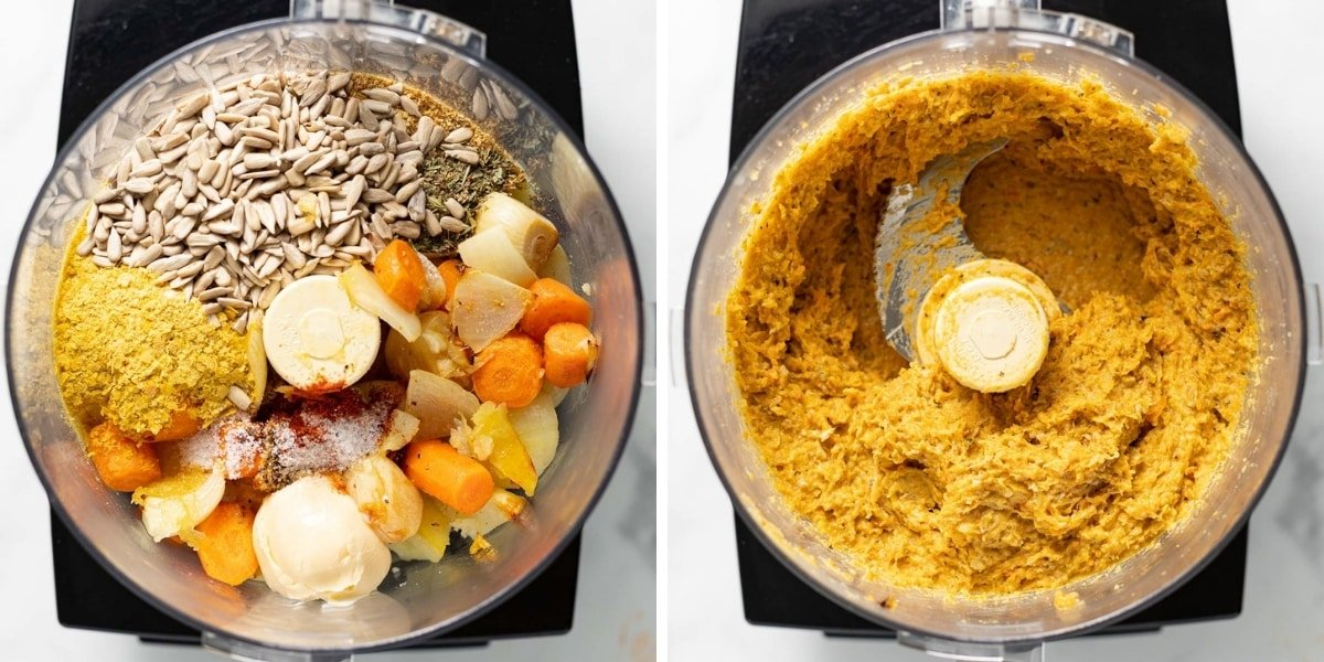 pate ingredients in a food processor, before processing and after side by side