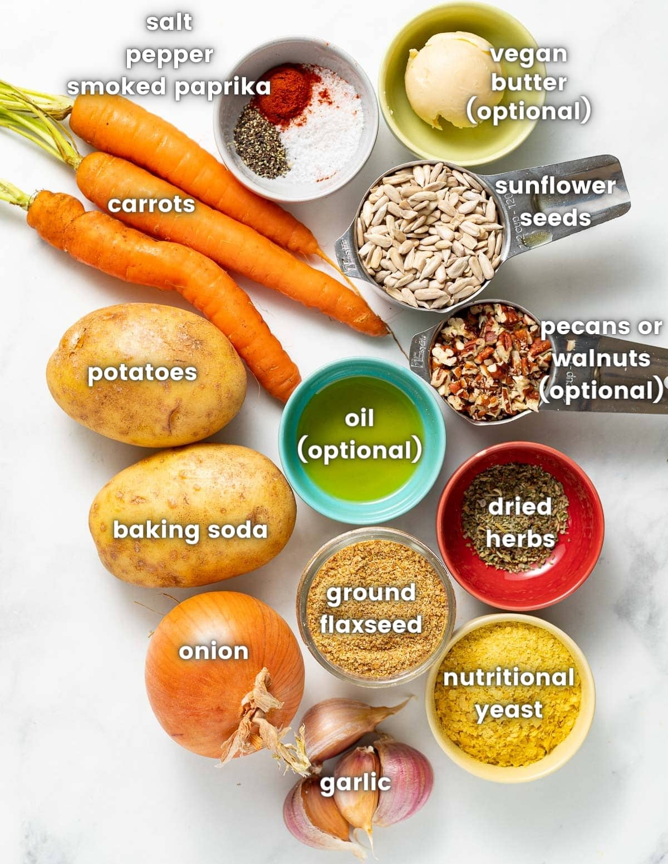 ingredients to make vegetable pate, see ingredient list too