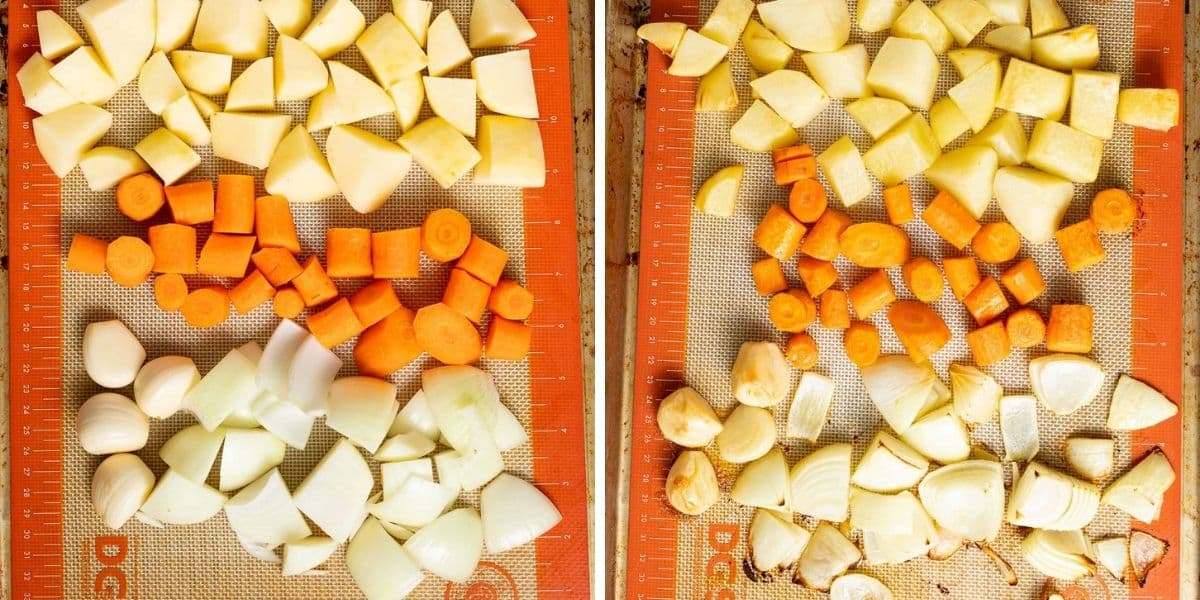 chopped carrots, onion, potatoes and garlic on a tray uncooked and cooked side by side