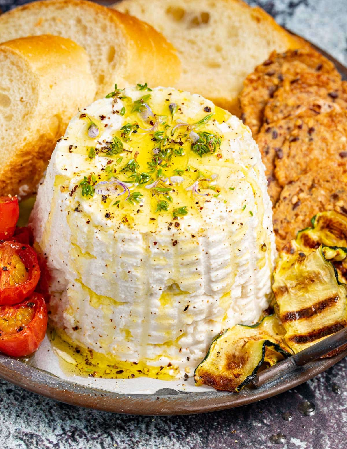 a vegan ricotta drizzled with olive oil