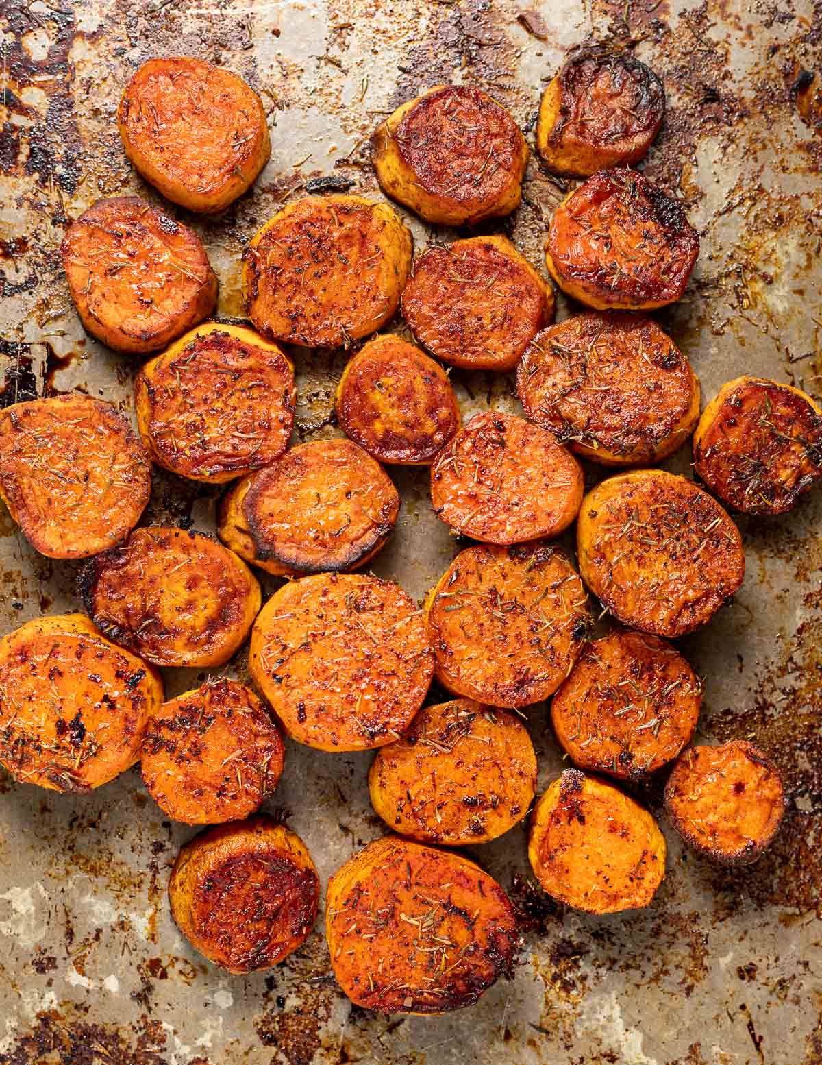 a tray of caramelized sweet potatoes