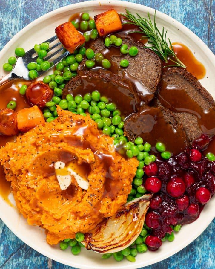 a gluten-free and vegan roast dinner