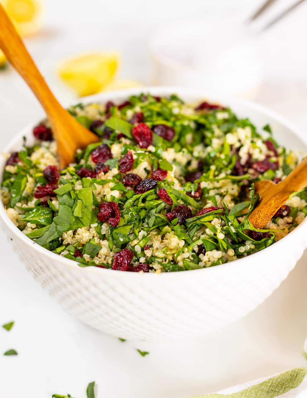 quinoa cranberry salad in large white bowl