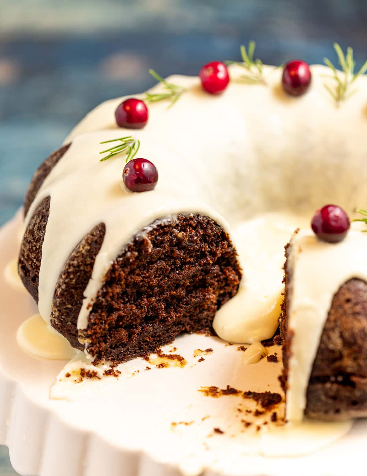 a gingerbread cake with a slice cut out
