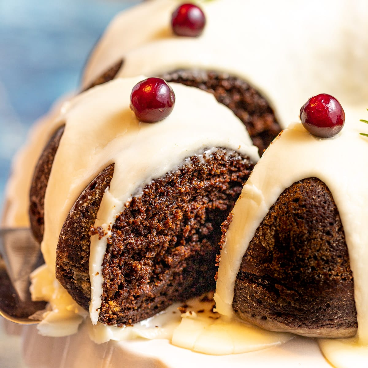 a slice of vegan gingerbread cake