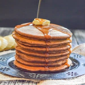 a stack of gingerbread pancakes