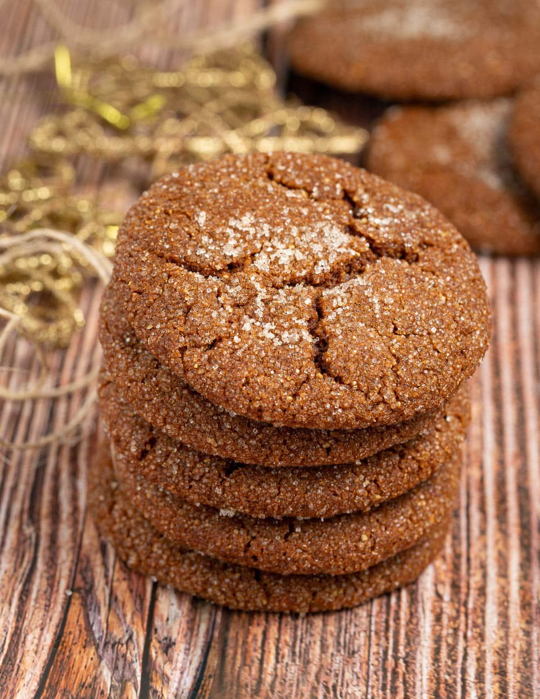 a stack of vegan molasses cookies