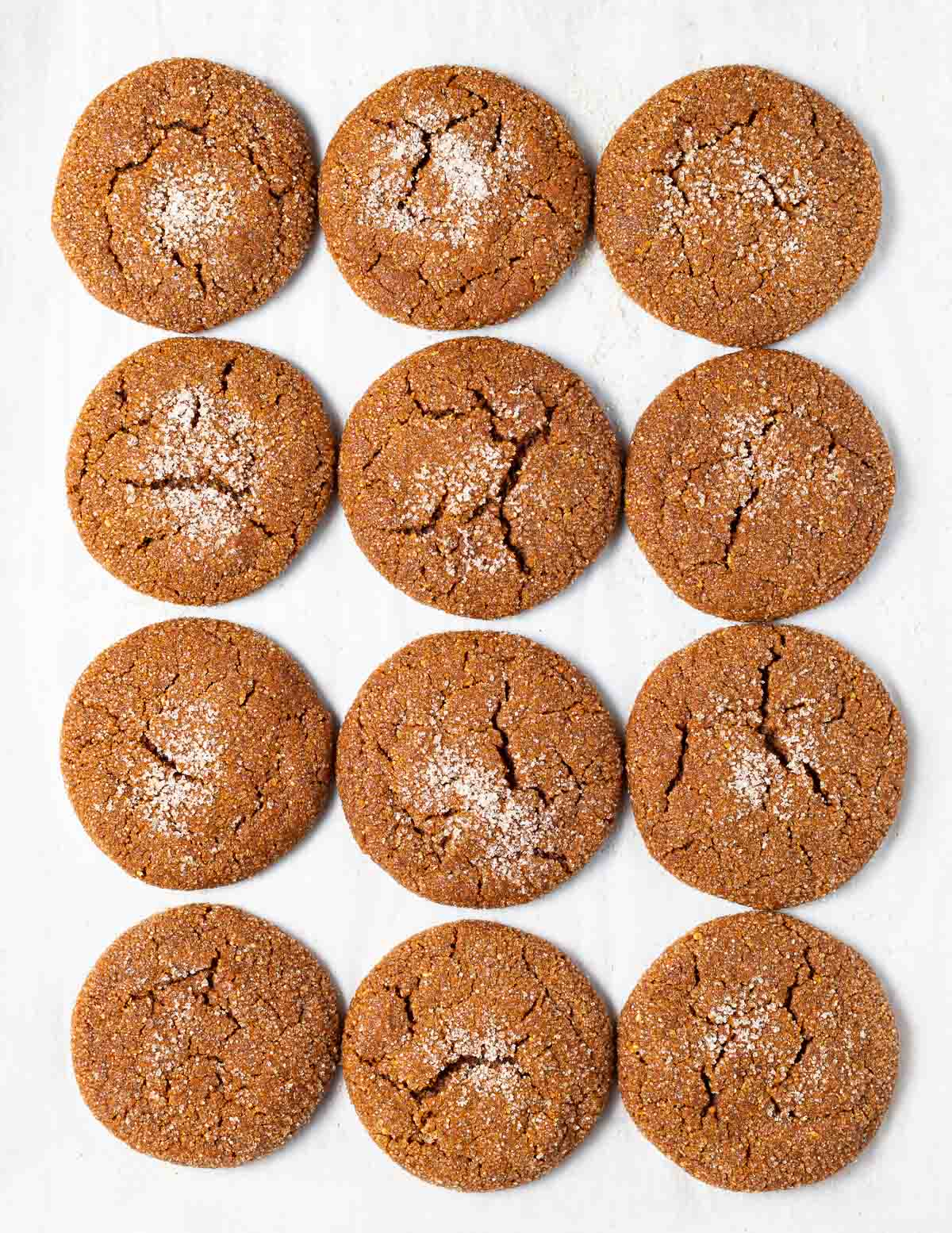 molasses cookies on a baking tray