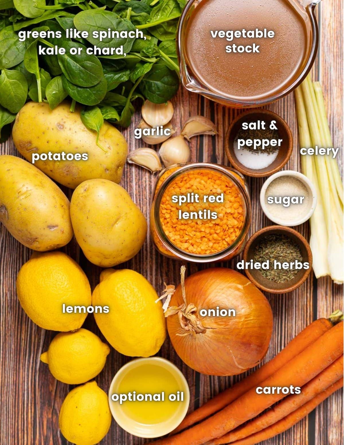ingredients for Instant Pot Red Lentil Soup as per the listed ingredients in the recipe card