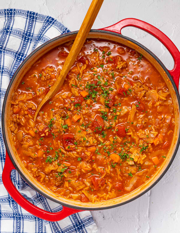 a large pan of soup