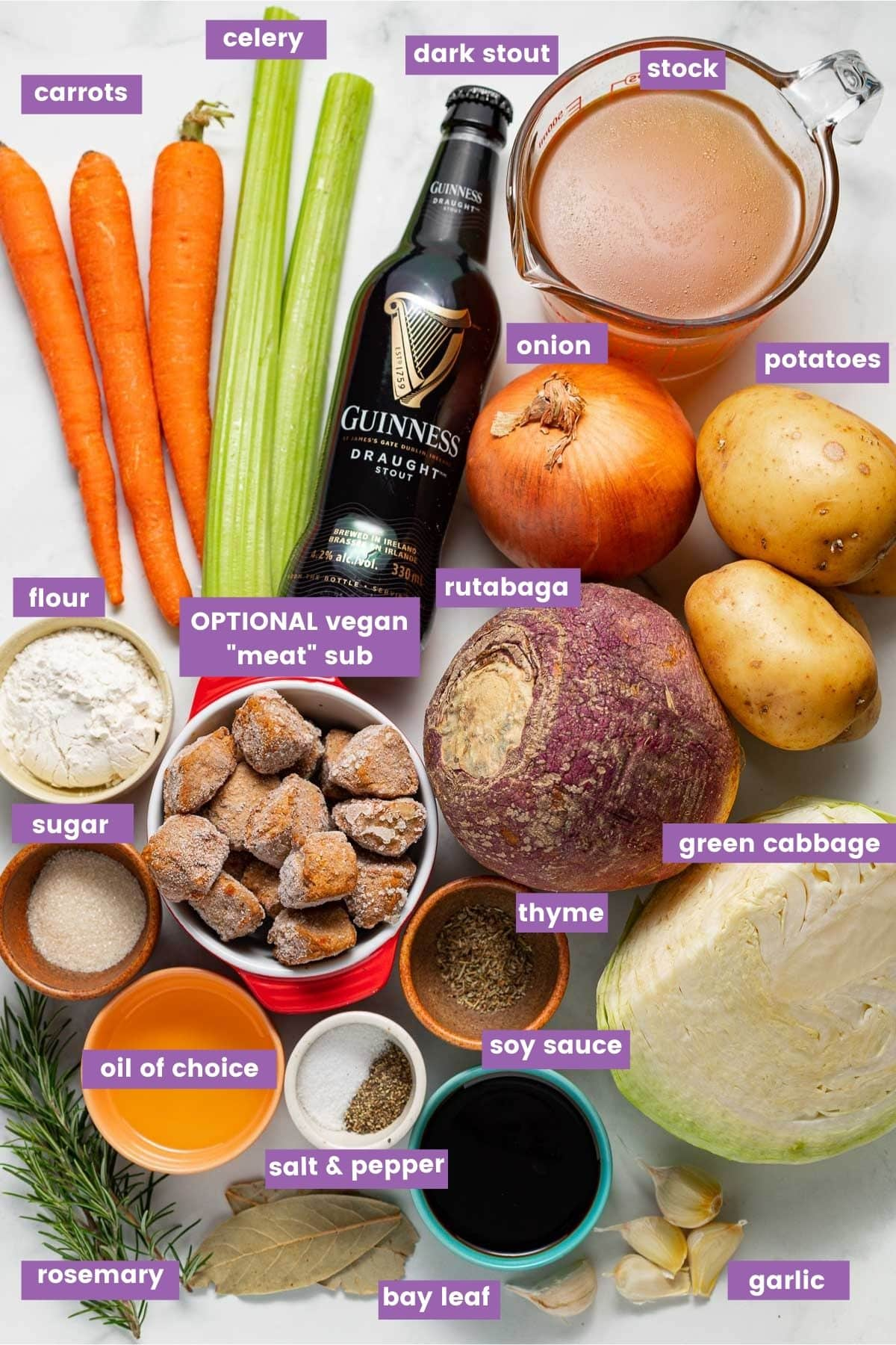 ingredients for or vegan Irish stew as per the written ingredient list