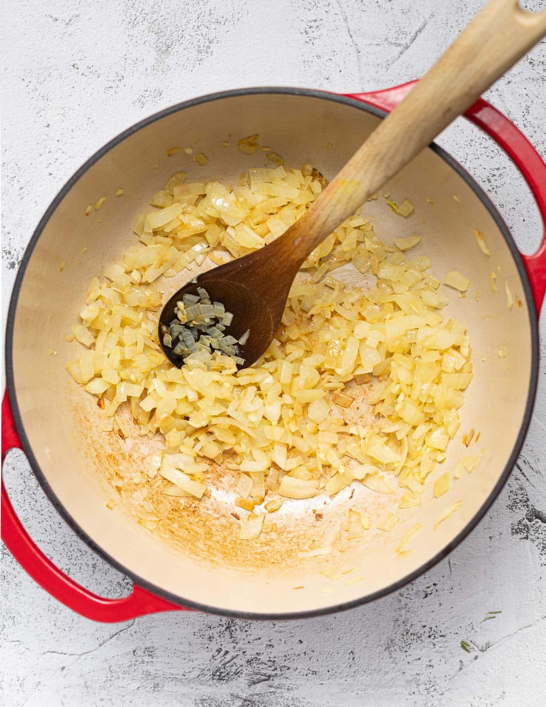 onions and garlic sautéing