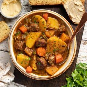 a bowl of vegan Irish stew