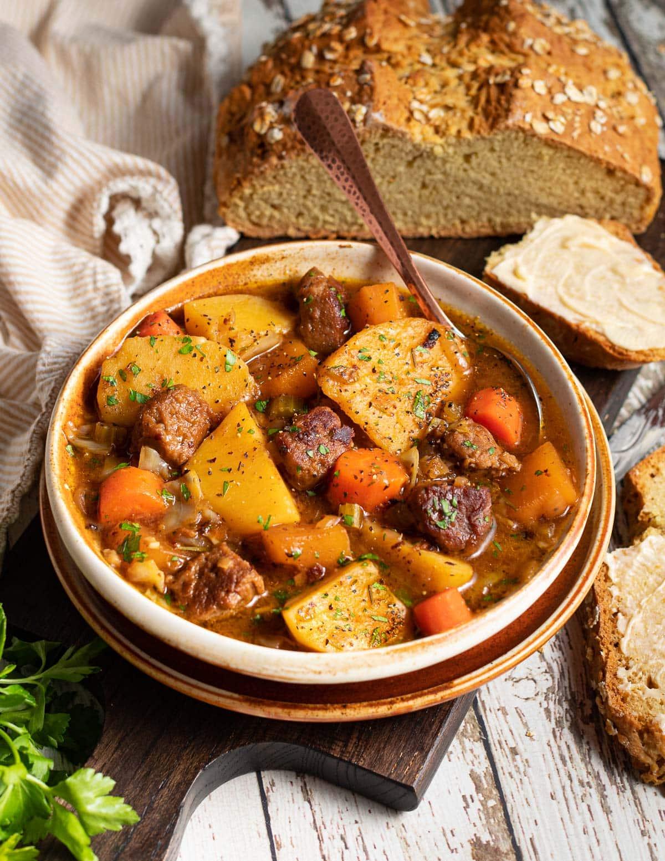 Irish stew with soda bread