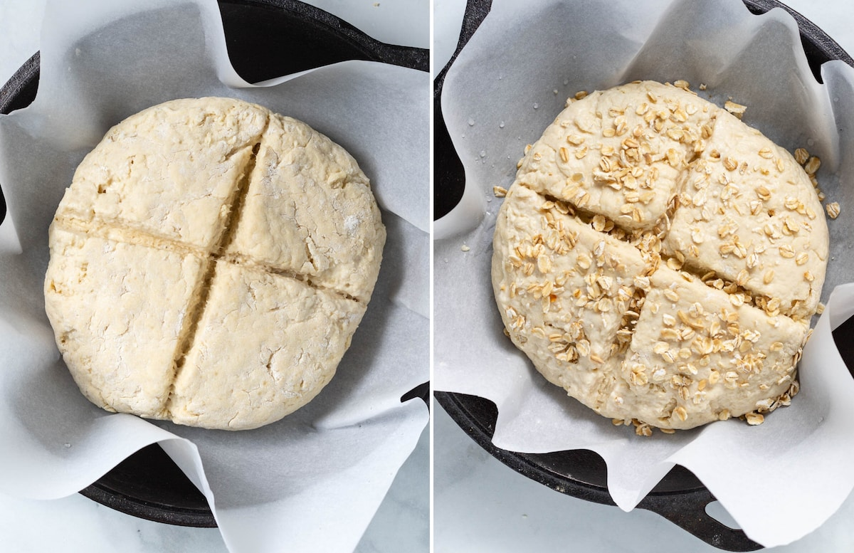 shaped soda bread scored and sprinkled with oats before cooking