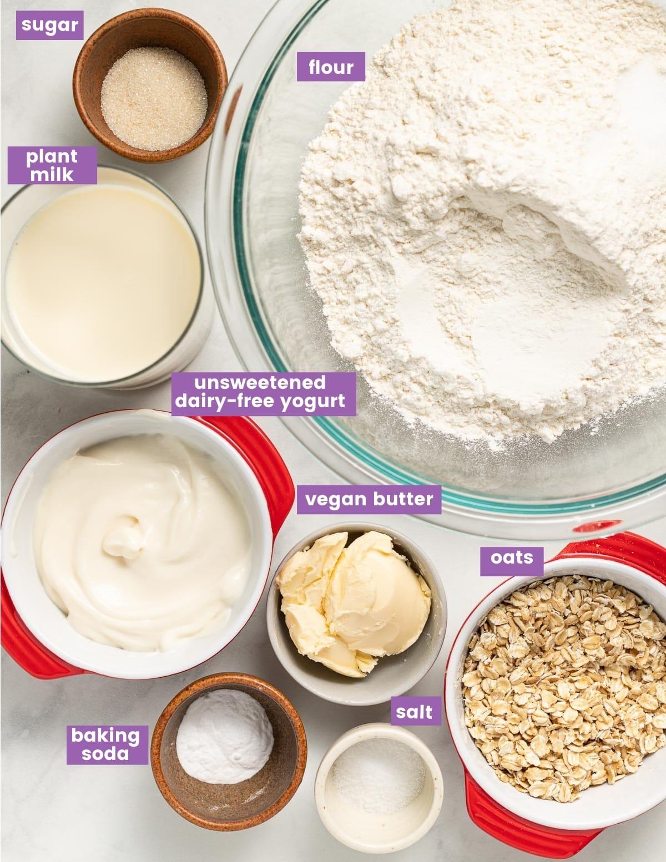ingredients for vegan soda bread as per the written list in the recipe