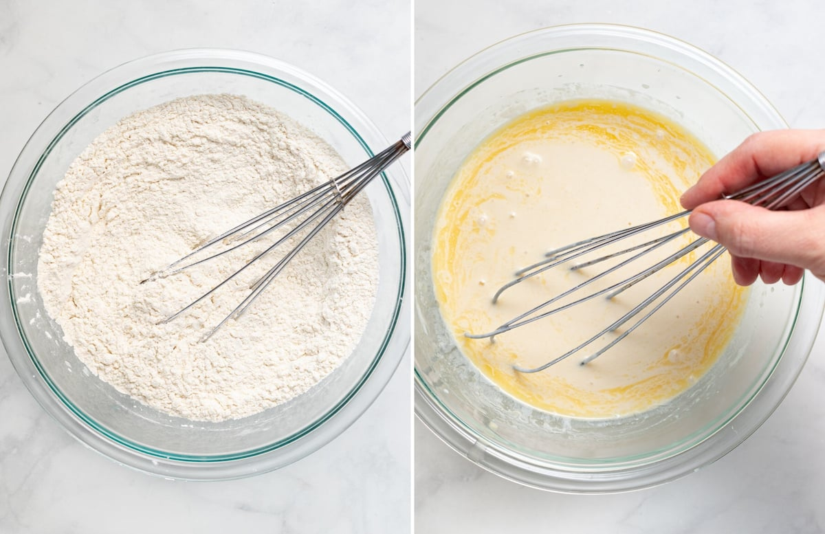 dry ingredients and wet ingredients in separate bowls