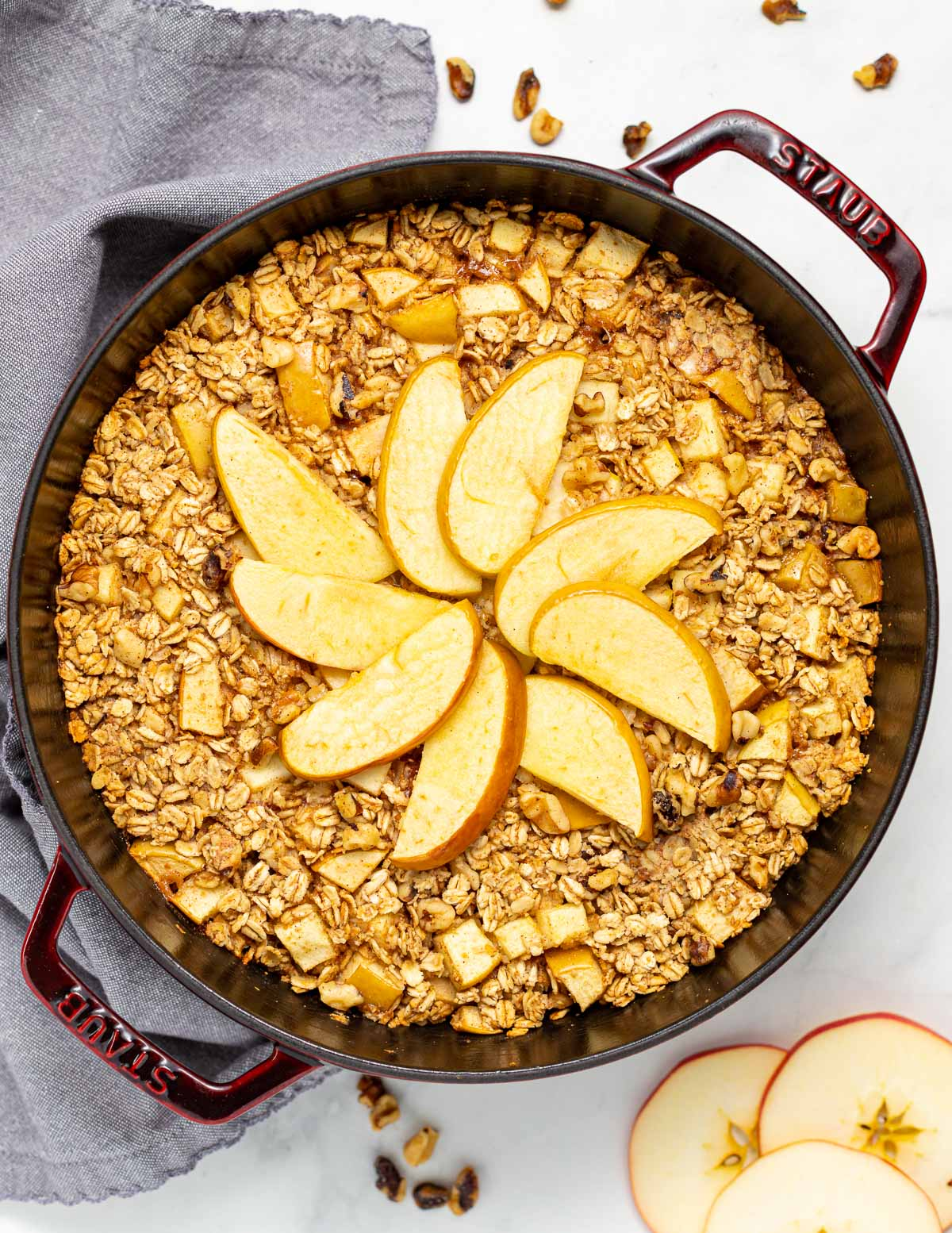 a pan of apple baked oatmeal