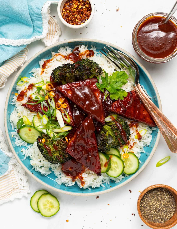 a plate of rice, broccoli and BBQ tofu