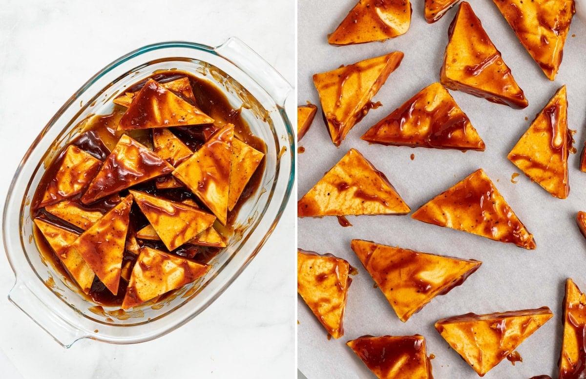 tofu triangles in marinade