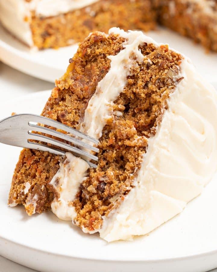 a slice of vegan carrot cake