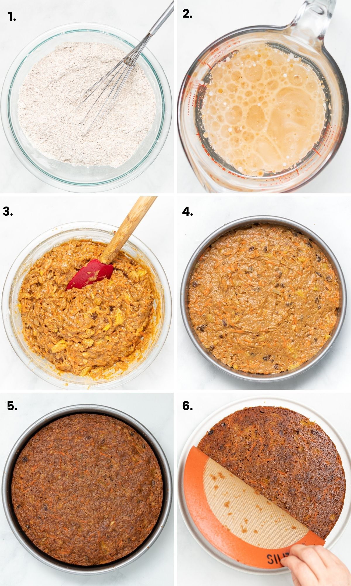progress shots of making carrot cake