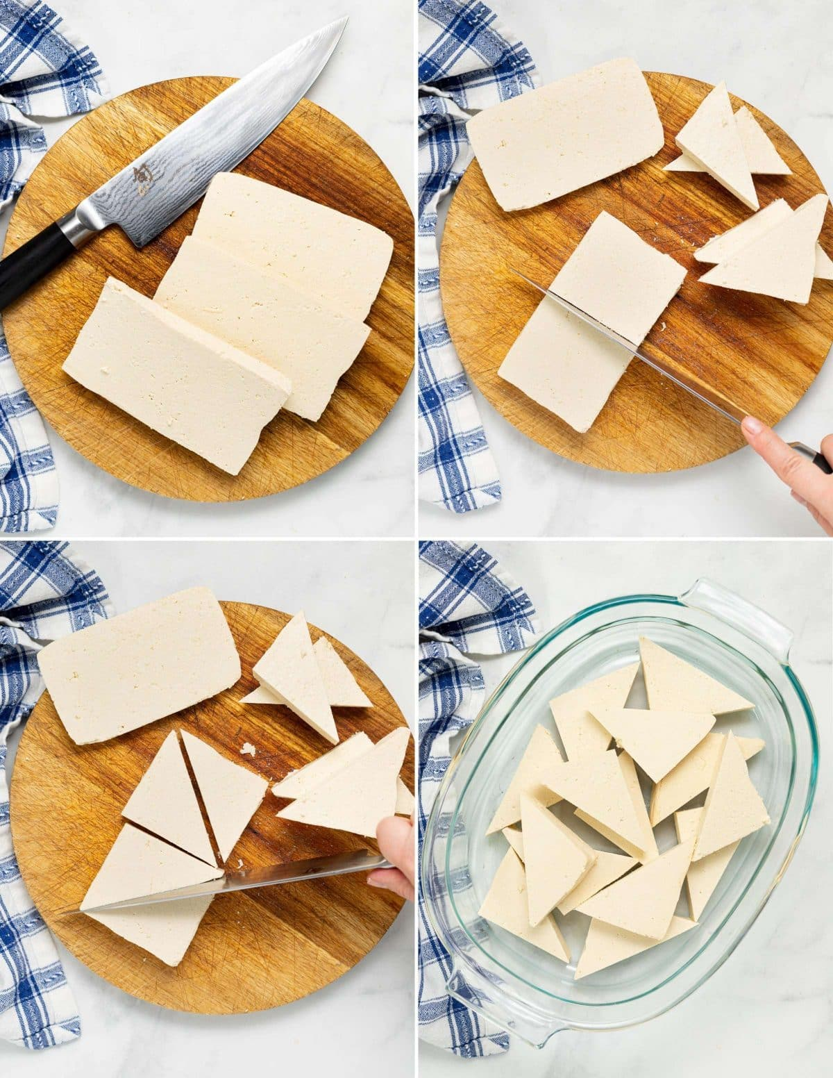 images showing how to cut tofu into triangles