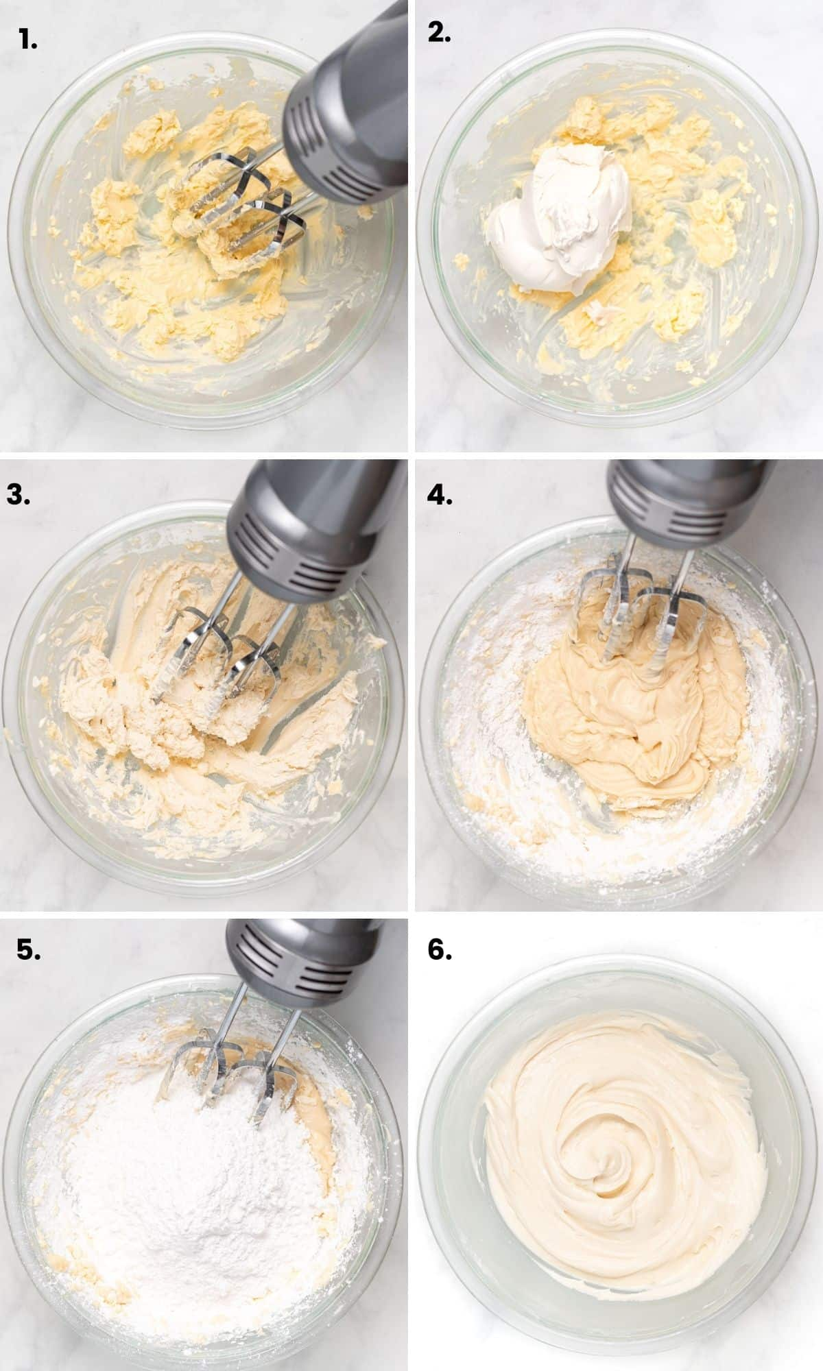 process photos showing how to make vegan cream cheese frosting as per written instructions