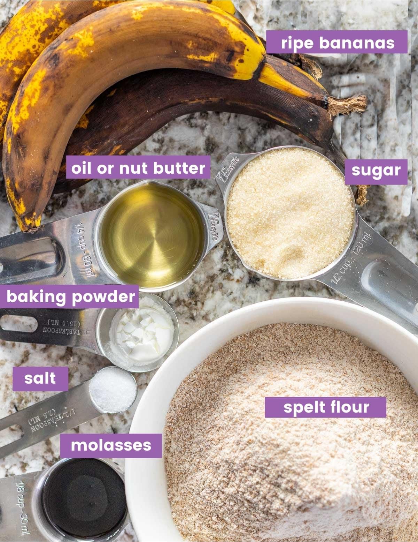 Ingredients for making spelt banana bread