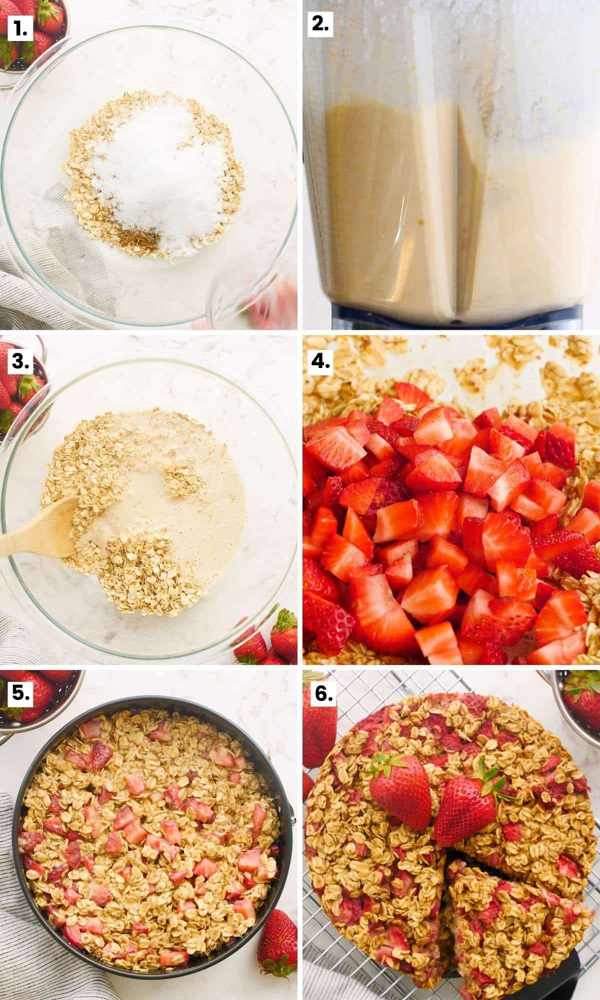 how to make strawberry baked oatmeal step-by-step as per the written instructions