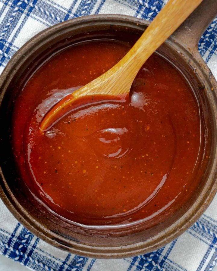 a pan of BBQ sauce