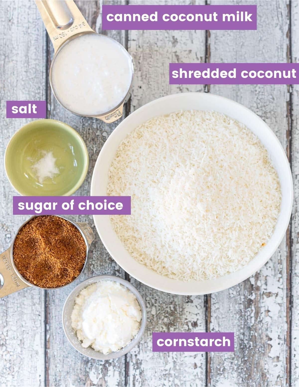 ingredients for vegan coconut macaroons