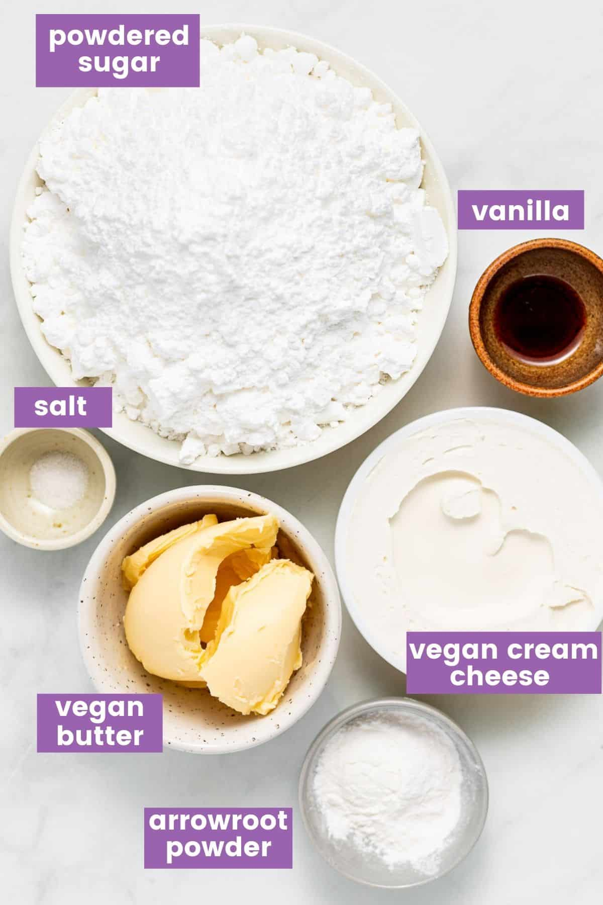 ingredients for vegan cream cheese frosting as per written list.